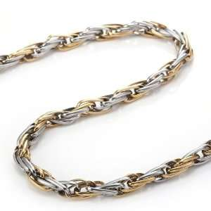 Impressive Stainless Steel Mens Necklace 21 Inches Chain (Silver Gold