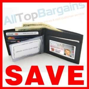 Wallet RFID Bi Fold Black Leather Blocking Data Safe
