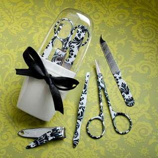60 Pretty Damask Design Manicure Sets Wedding / Bridal Shower Favors