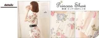 yrfashion Korean Fashion Women Elegant Floral Print Layered Chiffon