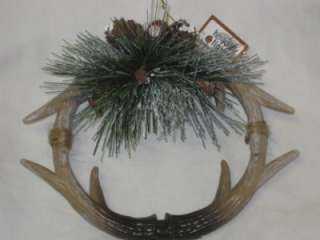 NEW Small Deer Antler Holiday Christmas Wreath With Pine Cones