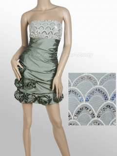 Ruffles Greyish green Sequins Flower Short Club Dress 03186GY