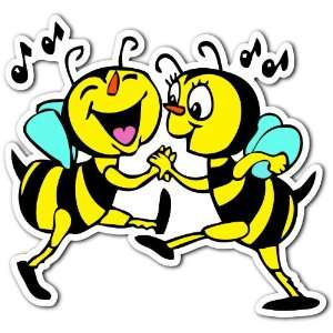 Bees Dance Jitterbug Bee Love Music Car Bumper Sticker Decal 4.5x4.5