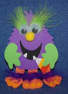 Silly Purple Halloween Monster Foam Magnet