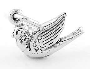 STERLING SILVER 925 DOVE BIRD 3D CHARM/PENDANT