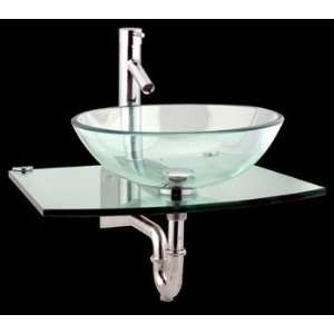 Glass Sinks Clear Glass/Stainless, Halo Wall Mount Mini Vessel 20 1/2