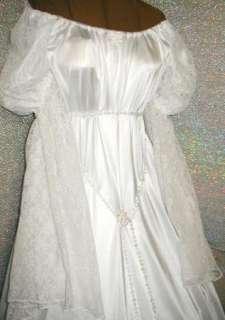 RENAISSANCE FANTASY CHEMISE STYLE WHITE SATIN COSTUME GOWN DRESS w