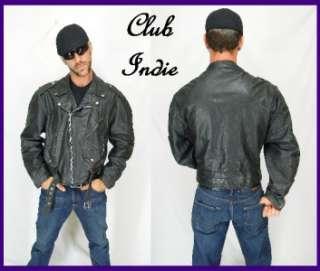 VINTAGE Black GINO Heavy BELTED BIKER Leather MOTORCYCLE Coat JACKET