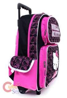 HELLO KITTY School Roller Backpack Lunch Bag Set  Black