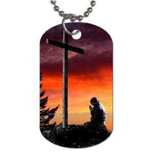 Man praying at cross christian Dog Tag with 30 chain necklace Great