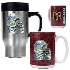 New England Patriots NFL Travel Mug & Gameball Ceramic Mug Set