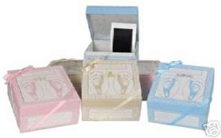 New Baby Foot Print Frame Shoebox Kit Keepsake PINK