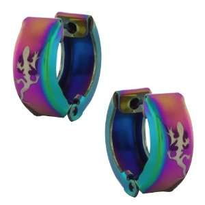 Stainless Steel Rainbow Color Lizard Huggie Hoop Earrings 13mm Length