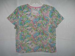 WHITE CROSS Nurse Uniform Scrub Top SIZE LARGE Groovy Flowers pinks