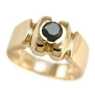 MENS BLACK DIAMOND MANS GENTS RING 14K YELLOW GOLD FREE SIZING