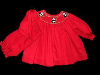 Girls NWT Willbeth Smocked Bishop Holiday Red Dress 6 mos Panda Bears