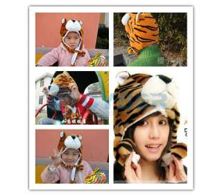 Tiger Animal Cartoon Cap Cute Fluffy Plush Warm Hat Cap