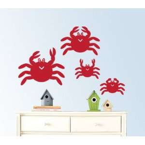 Family of Crabs a Set of 4 Vinyl Wall Decal Great for Any Nursery Kids