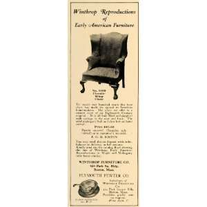 1928 Ad Fireside Wing Chair Winthrop Furniture Company