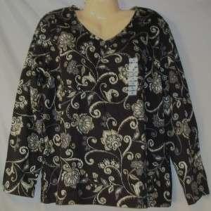 Womens Karen Scott Black & Gray Pullover Shirt 1X 2X 732996638850