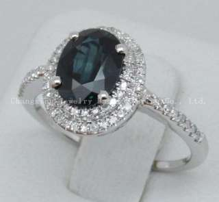 HOTSolid 14k White Gold Natural Blue Sapphire & Diamond ring
