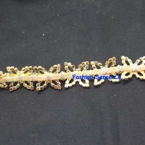 wedding cake decor craft rhinestone crystal GOLD plating chain