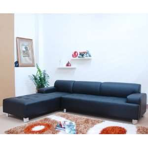 Contemporary Black Full Leather Sectional Sofa   LSF