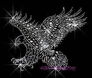 In Flight Mascot Rhinestone Iron on Transfer Hot Fix Bling School