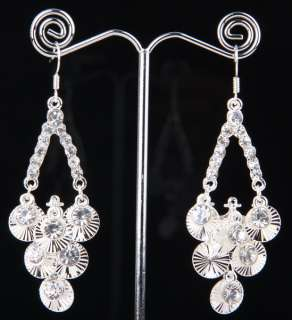 100% Credible Tibet Silver Swarovski clear Crystal Dangle Earring size