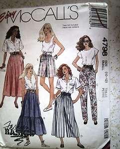 4798 S 10 12 Pants Skirt Shorts Culottes Sewing Pattern Uncut