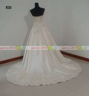 Strapless A Line 395 Satin Beaded and Embroidery Wedding Gowns Custom