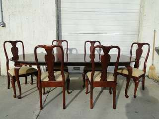 Ethan Allen Georgian court dining room table & 6 chairs solid cherry