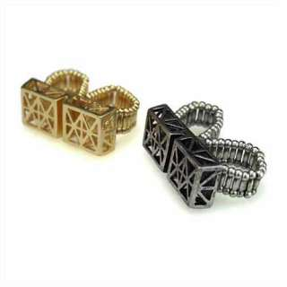Retro Punk DOUBLE FINGER RING IN (Silver Or Gold) AS SEEN FREE