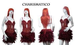RED FEATHER LADY GAGA DRAG SHOWGIRL SALSA DANCE DRESS