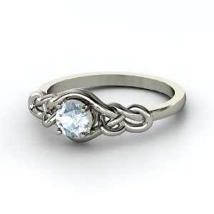 Sailors Knot Ring, Round Aquamarine Palladium Ring