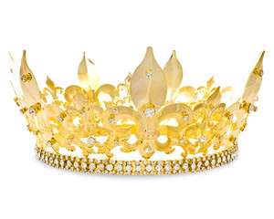 Swarovski Crystal Mens Crown   Gold Silver Party Regal King Royalty