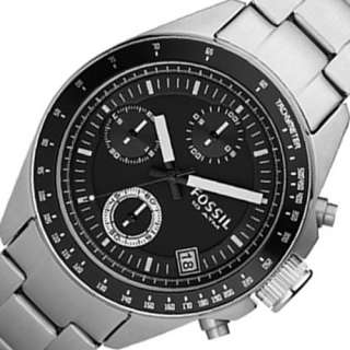 FOSSIL Chronograph Mens Analog Round Watch Silver Tone Bracelet Black