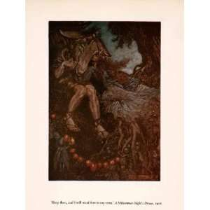 1960 Tipped In Print Arthur Rackham Art Midsummer Nights