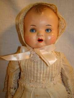 Antique VICTORIAN era PAPER MACHE Composition Baby DOLL w/ GLASS Sleep