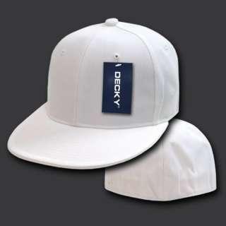WHITE FITTED FLAT BILL BASEBALL CAP CAPS HAT   7 Sizes