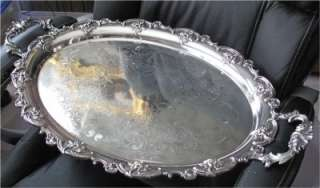 ANTIQUE ENGLISH SILVER PLATED TRAY, DECORATIVE 1900
