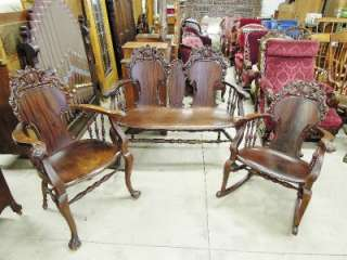 VICTORIAN SETTEE W/ MATCHING CHAIR & ROCKER, 3 PC. HAND CARVED SOLID