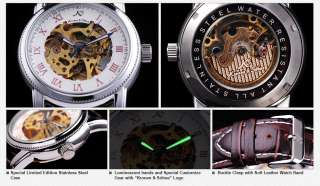 New KS White Dial Auto Mechanical Men Leather Watch