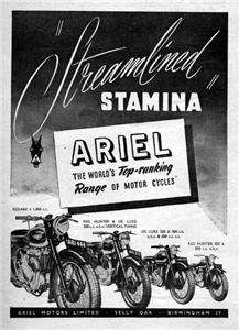 1948 Ariel Square 4 & Red Hunter Motorcycle Original Ad