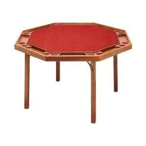 Solid Ranch Oak Octagonal Poker Table with Red Nylon Top
