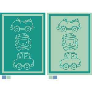Baby & Toddler Blanket   Cars Light & Medium Green Colorfoul and Soft