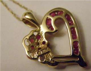 10K Yellow Gold RUBY DIAMOND Heart Pendant 18 Necklace