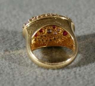 GOLD TANZANITE PINK TOURMALINE RHODOLITE GARNET DOMED BAND RING