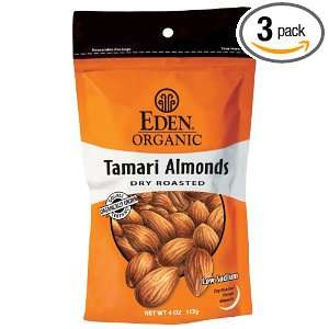 Eden Organic Tamari Almonds, Dry Roasted, 4 Ounce Package (Pack of 3)
