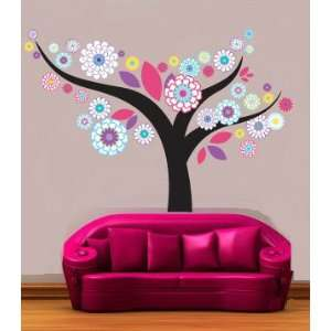 Kids Tree Vinyl Wall Decal Floral with Leaves Great for Any Nursery or